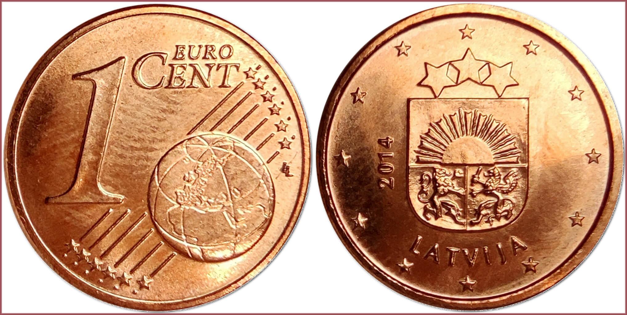 1 euro cent, 2014: Republic of Latvia (European Union)