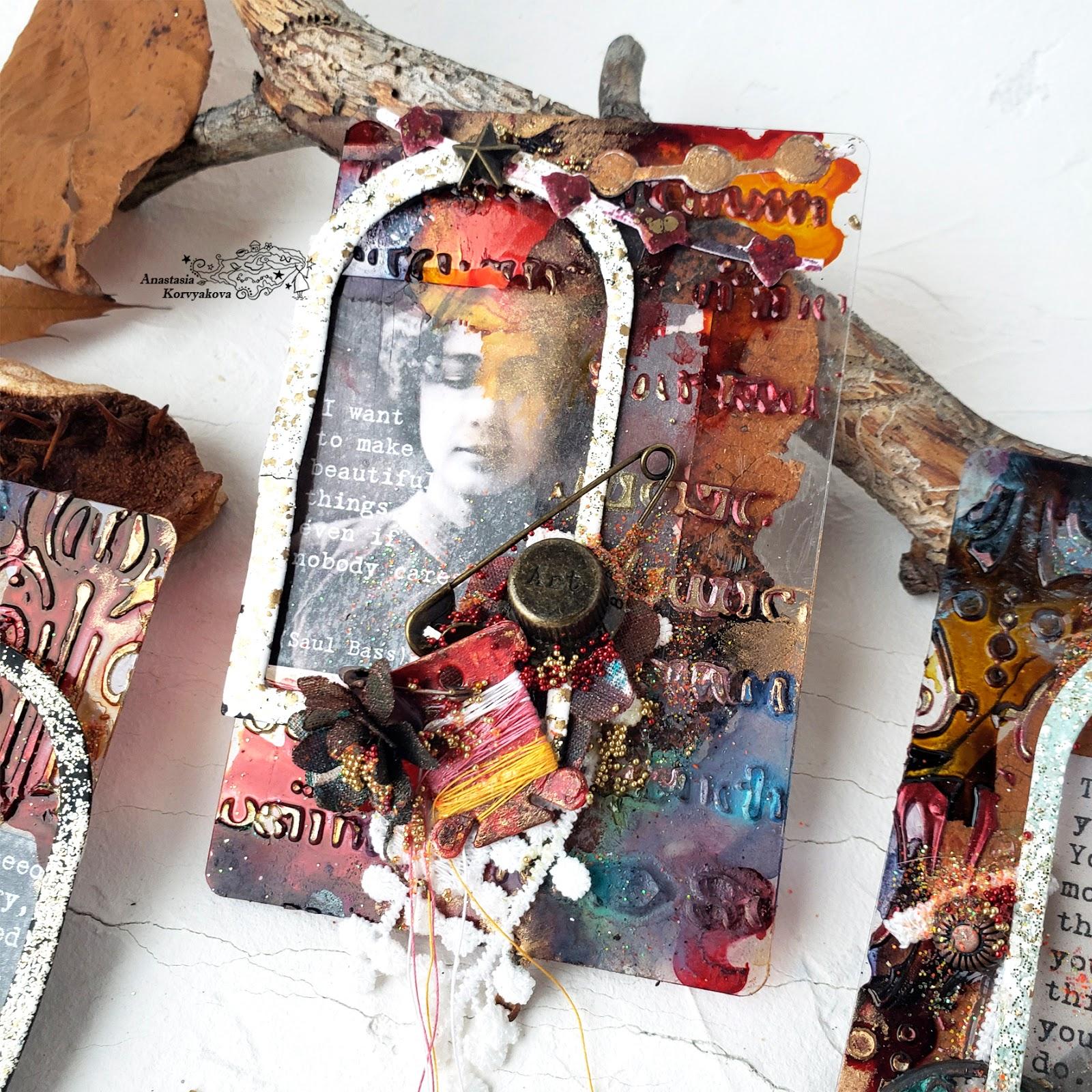 @nastyalena #atc #mixedmedia #scrapbookingdies #mimi_cut #Finnabair_studio
