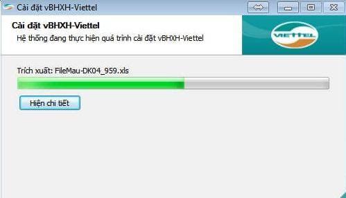 Hình 3 - Quá trình cài đặt phần mềm vBHXH của Viettel