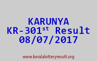 KARUNYA Lottery KR 301 Results 8-7-2017