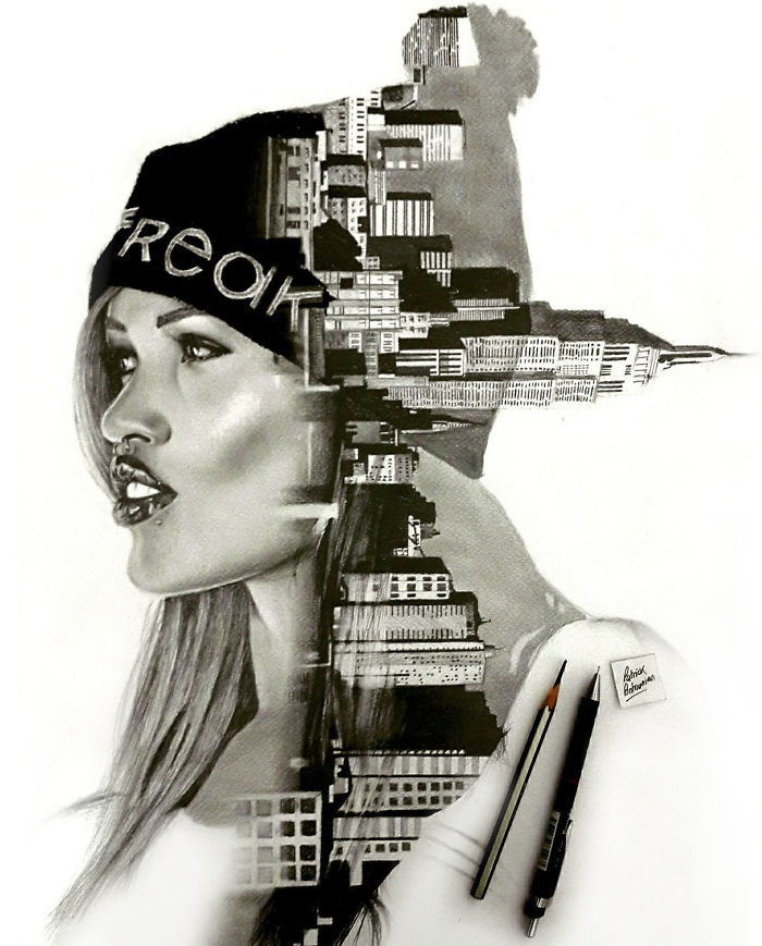 12-Skyline-Patrick-Antounian-Black-and-White-Double-Exposure-Drawings-www-designstack-co