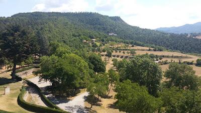 Vista del parc des del castell de Montesquiu