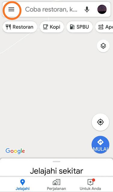 Letak Menu di Aplikasi Google Maps