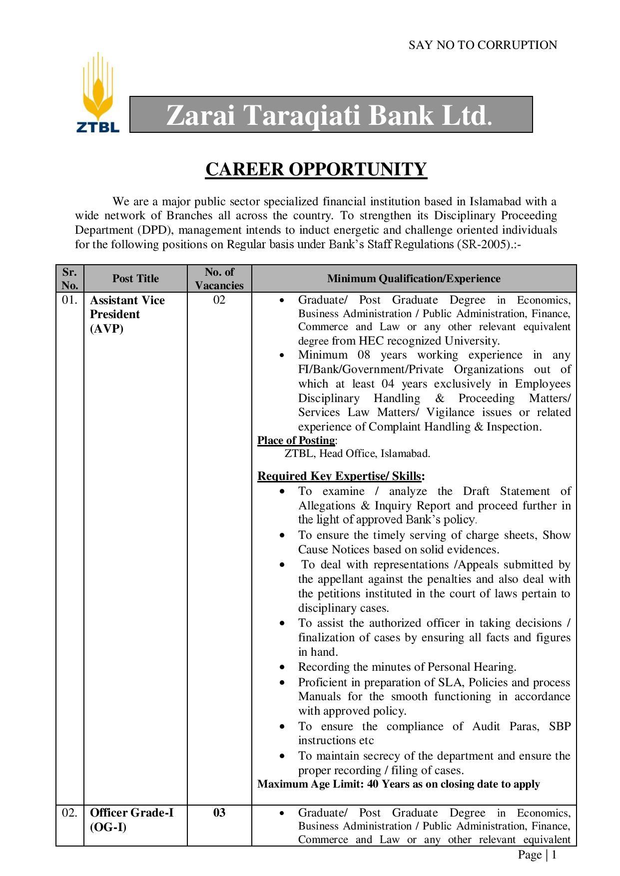 ZTBL Jobs December 2020   Zarai Taraqiati Bank Ltd – Apply Online