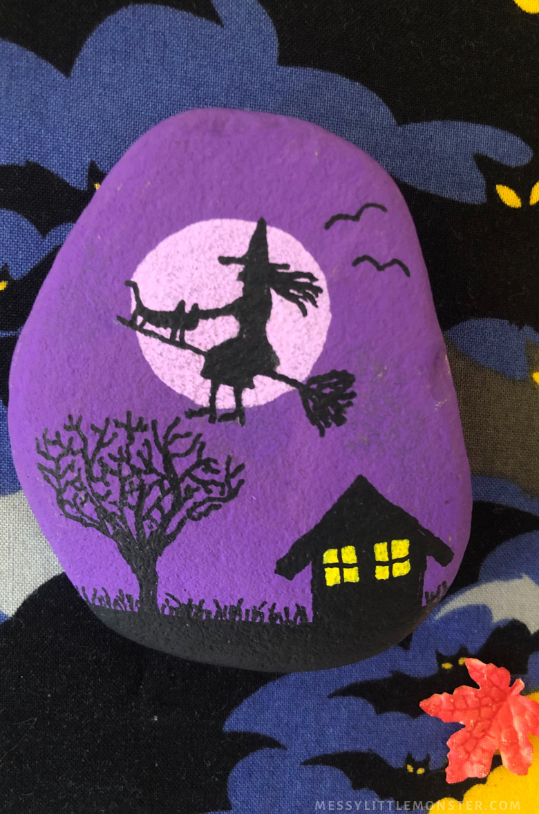 Halloween rock painting - witch
