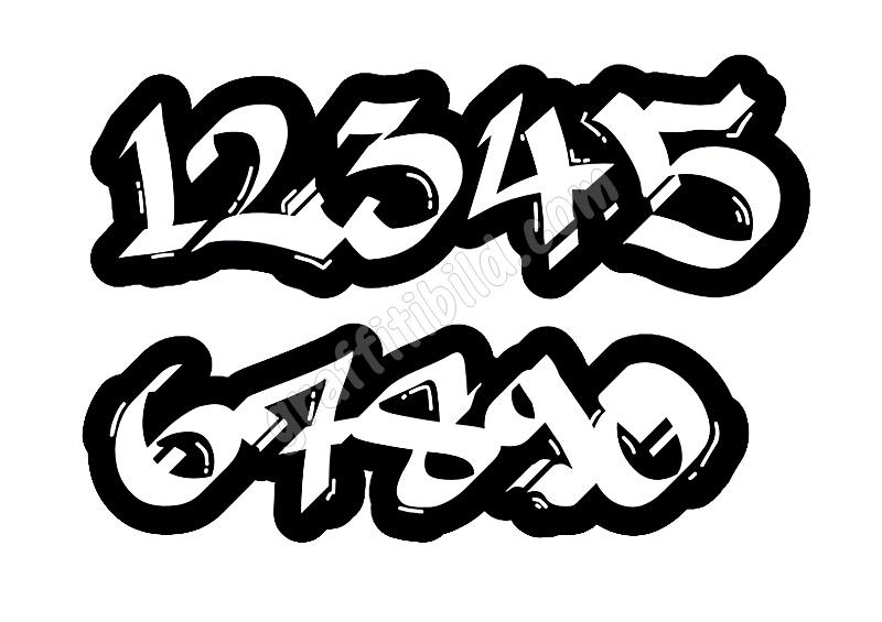 Graffiti Zahlen, Graffiti Schrift, Graffiti Numbers 0-9