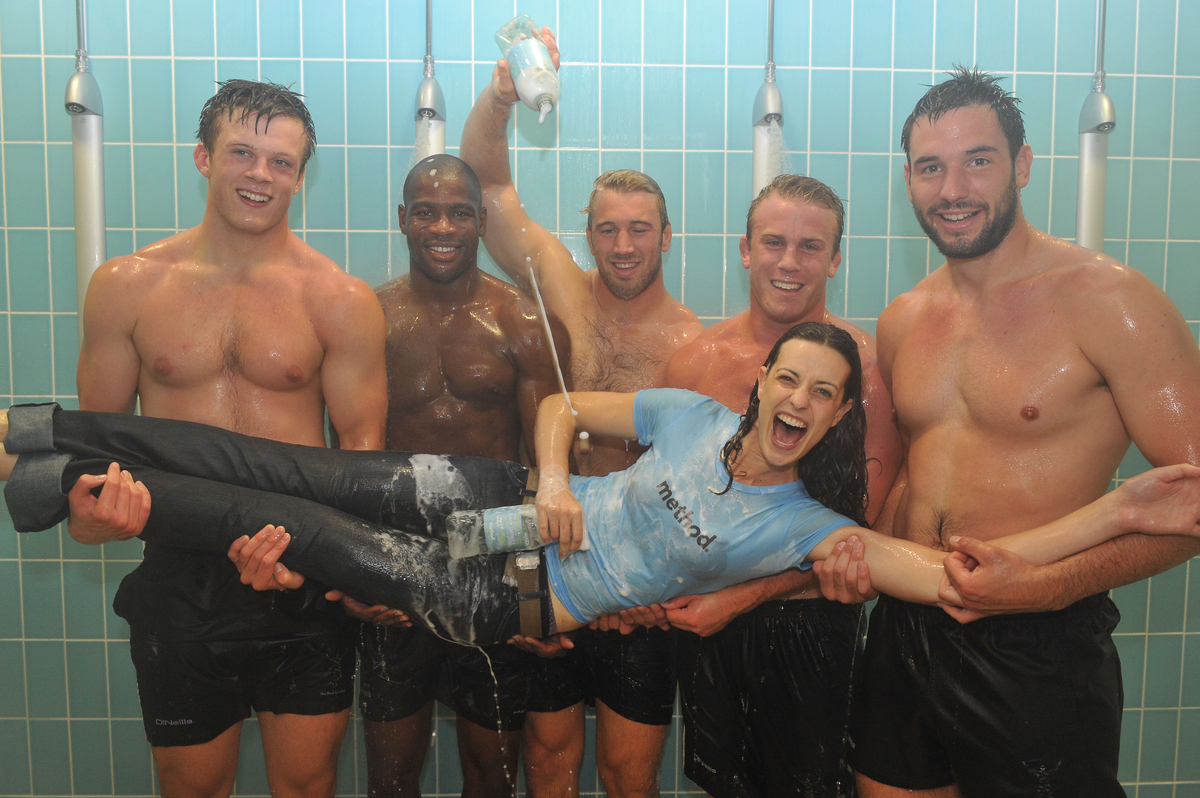 Rugby players shower