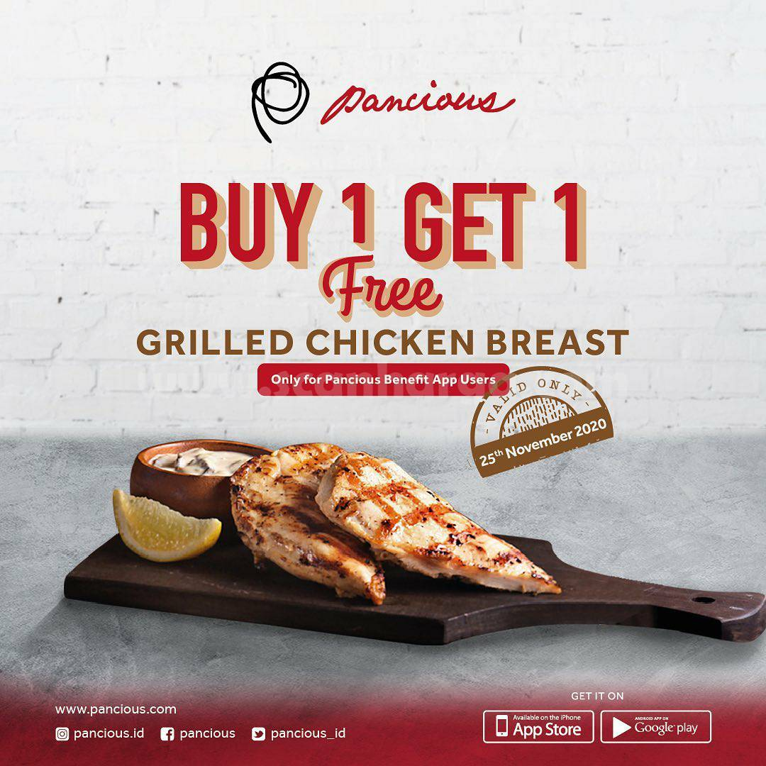 Promo Pancious Buy 1 Get 1 Free Grilled Chicken Breast