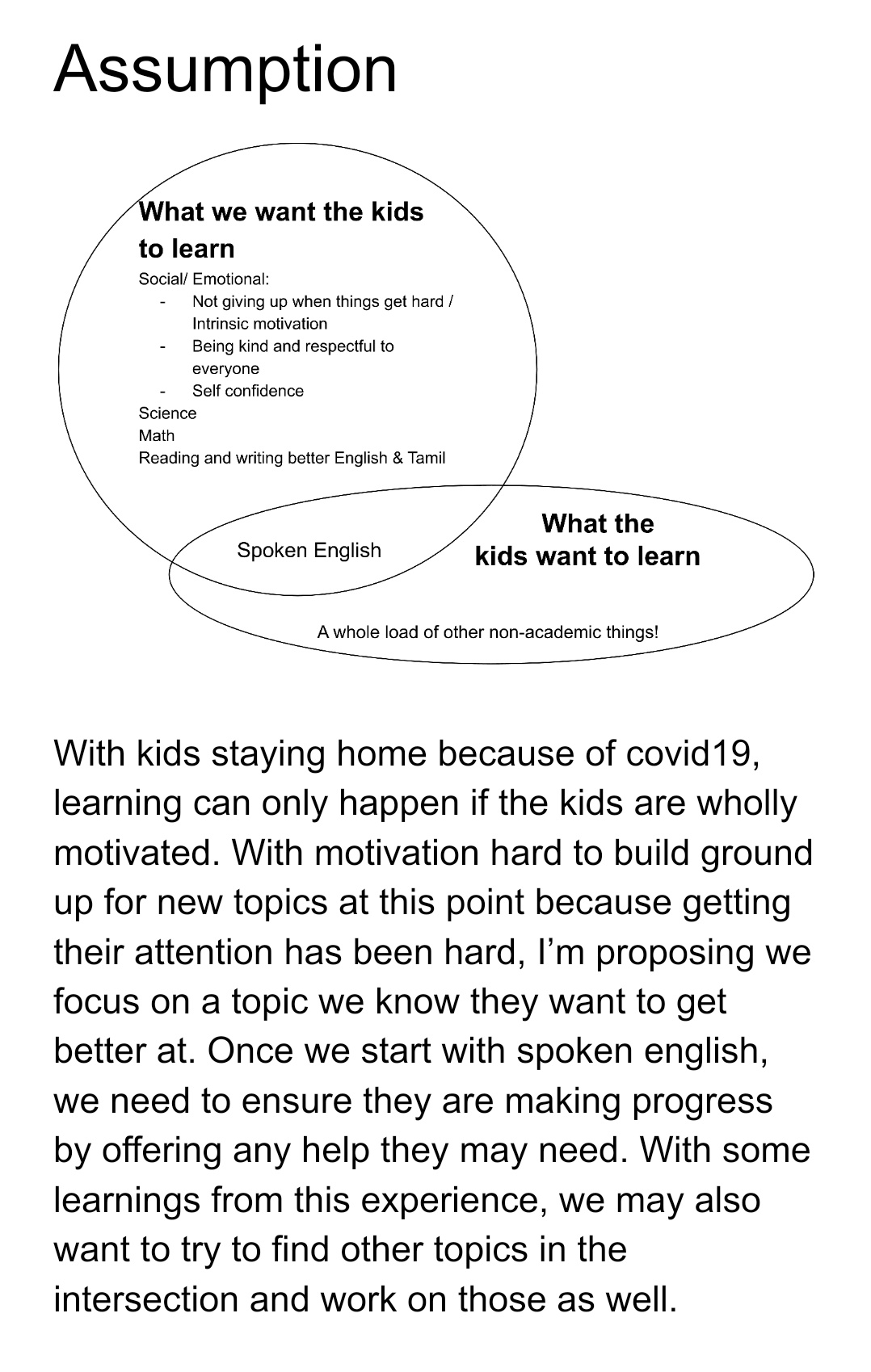 With kids staying home because of covid19, learning can only happen if the kids are wholly motivated. With motivation hard to build ground up for new topics at this point because getting their attention has been hard, I'm proposing we focus on a topic we know they want to get better at. Once we start with spoken english, we need to ensure they are making progress by offering any help they may need. With some learnings from this experience, we may also want to try to find other topics in the intersection and work on those as well.