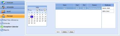 call center schedule exception calendar - Monet Software