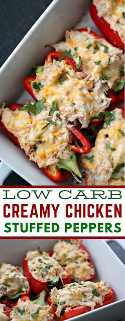 LOW CARB CREAMY CHICKEN STUFFED PEPPERS