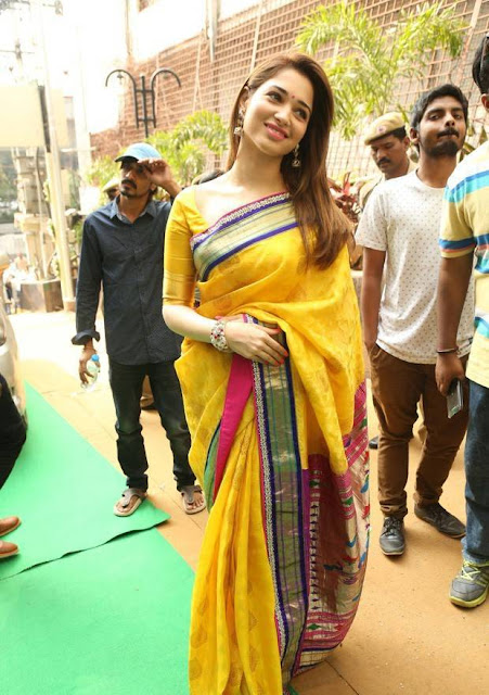 Tamannaah in Yellow Traditional Saree