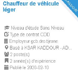 Chauffeur de véhicule léger Employeur : gcb.dro.tijrane