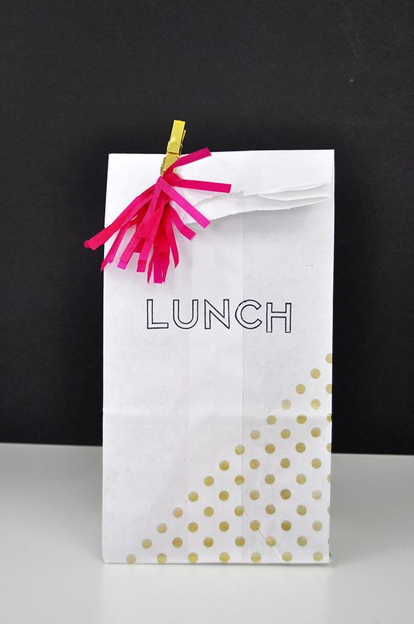 Stenciled and Stamped Lunch Bags for Teens by Jen Gallacher from www.jengallacher.com. #lunchbag #lunchsack #stamping #stencil