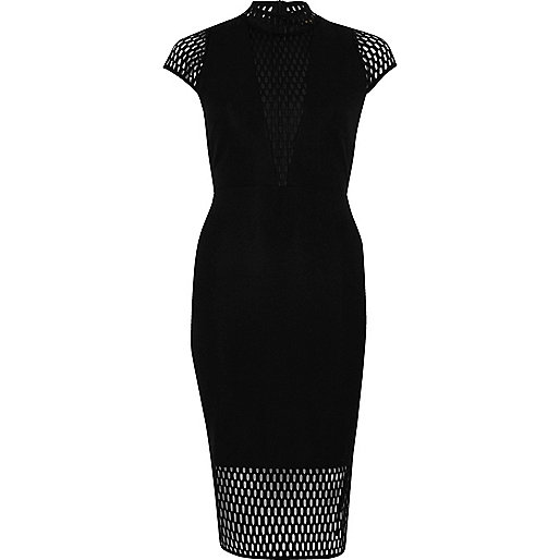 black mesh detail midi dress, river island black mesh dress.