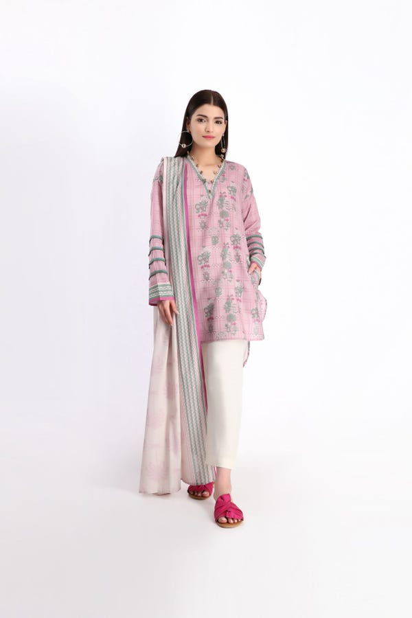 Khaadi printed 2 PC unstitched suit summer collection purple color