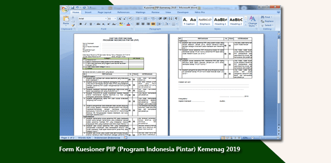 Form Kuesioner PIP (Program Indonesia Pintar) Kemenag 2019