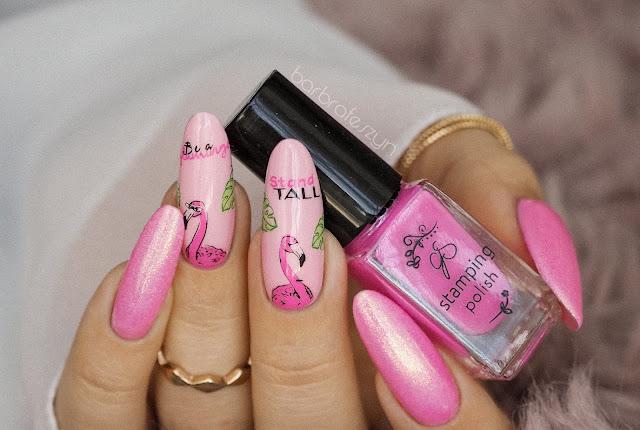 Paznokcie w flamingi | Clear Jelly Stamper