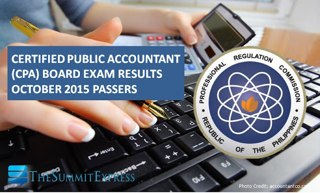 October 2015 CPA board exam results passers