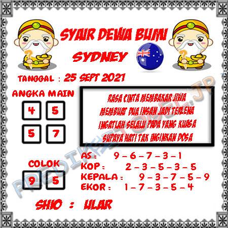 Syair Dewa Bumi Sidney Hari Ini 25-09-2021