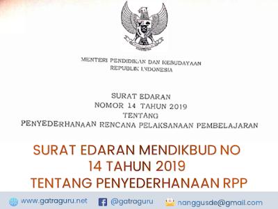Surat Edaran Mendikbud Nomor 14 Tahun 2019 Tentang Penyederhanaan RPP