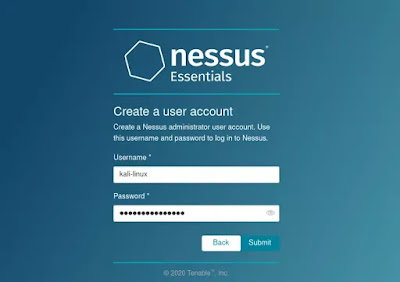 Creating username and paswsword for nessus