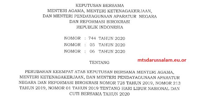 SKB 3 Menteri Tentang Perubahan Ke 4 Libnas Dan Cutber 2020