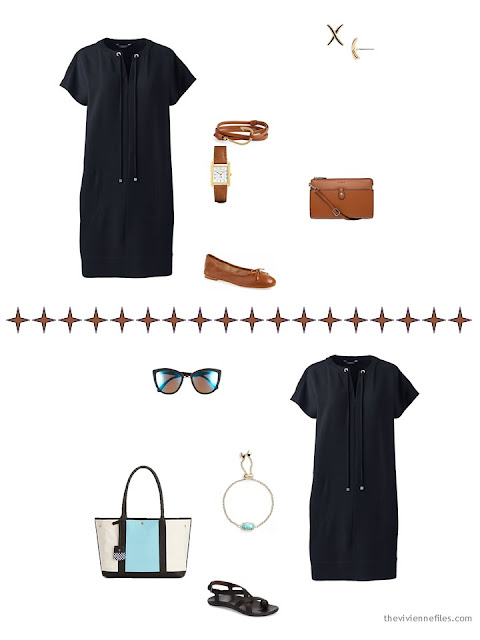 2 ways to accessorize a casual black dress in hot weather