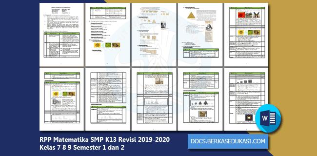 RPP Matematika SMP K13 Revisi 2019-2020 Kelas 7 8 9 Semester 1 dan 2