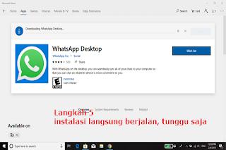 Begitu selesai di klik no thanks, secara otomatis proses instalasi whatsapp desktop langsung berjalan. Tunggu saja hingga proses instal selesai