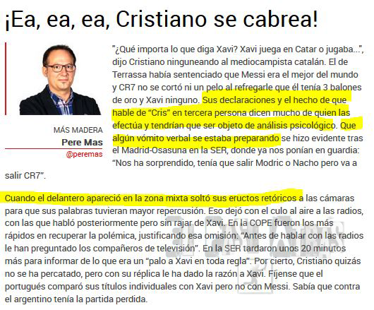 Prensa deportiva española insultando a CR7