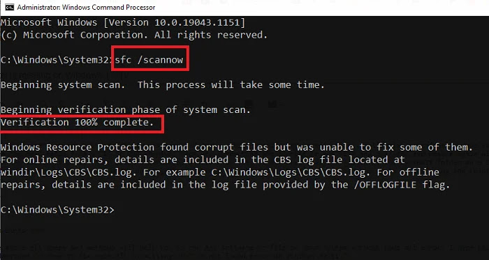 Scanning Corrupted Files Command Prompt