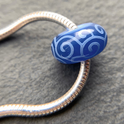Handmade lampwork glass big hole bead by Laura Sparling made with CiM Lunar