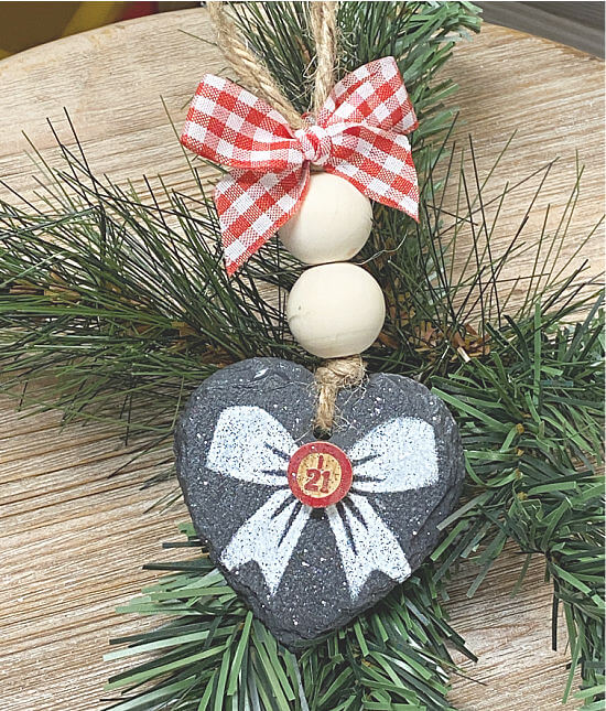 Slate heart shaped Christmas ornament