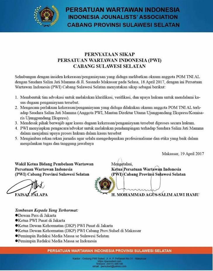Inilah Pernyataan Sikap PWI Provinsi Sullsel