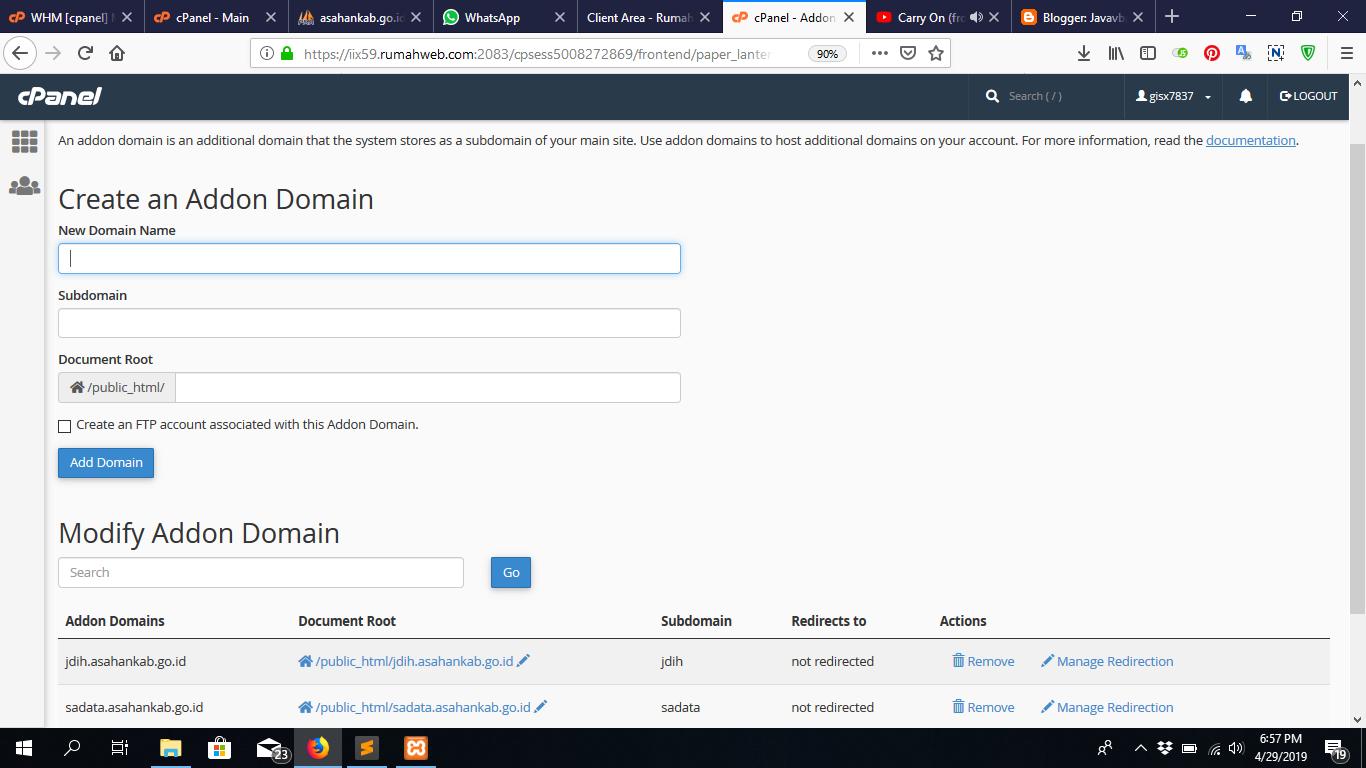 Cara Membuat Addon Domain Untuk Aliases Sub Domain