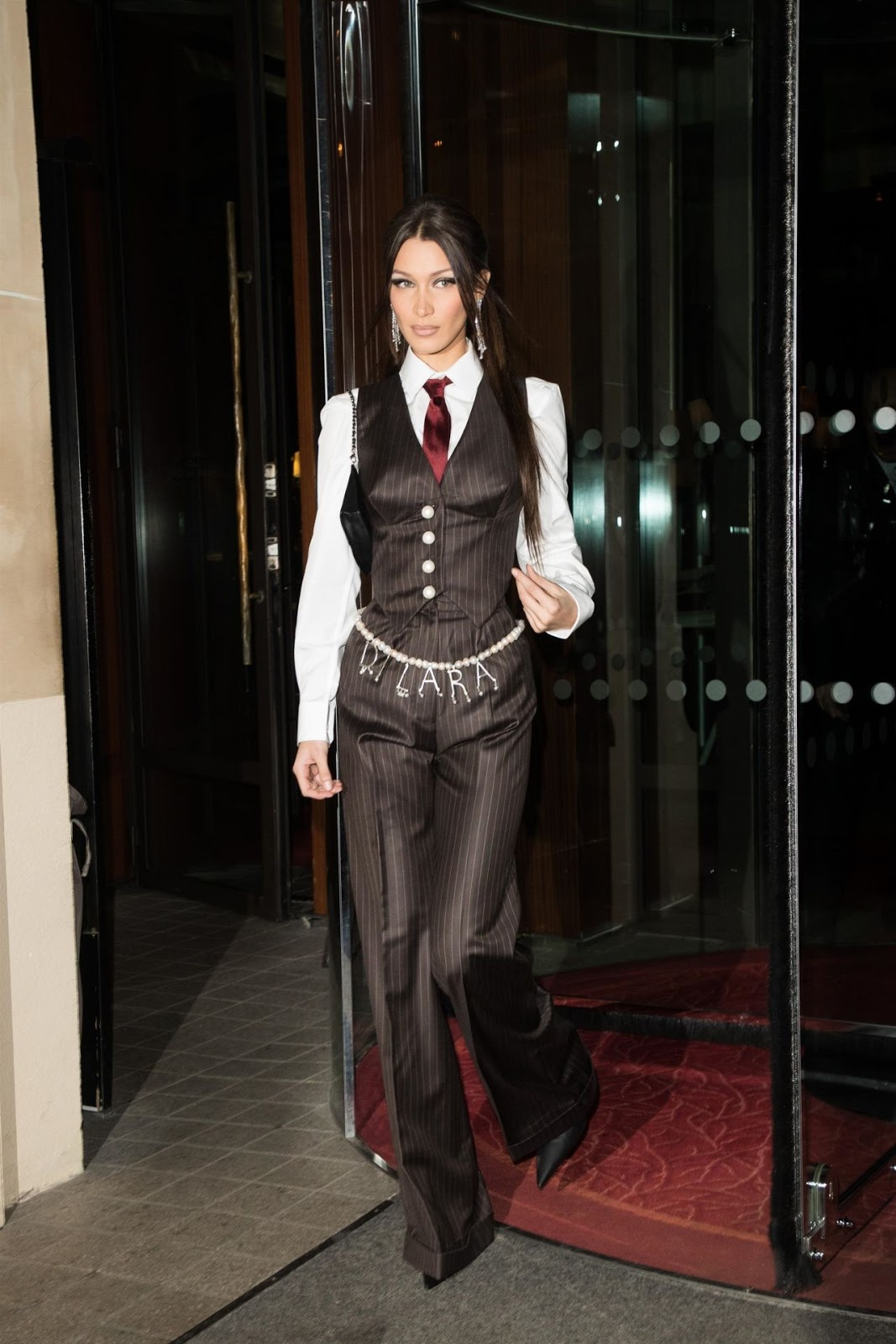 Bella Hadid is androgynous chic at the Vivienne Westwood after party in Paris