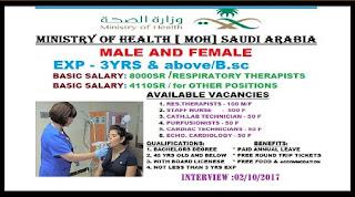 MINISTRY OF HEALTH (MOH) SAUDI ARABIA VACANCY