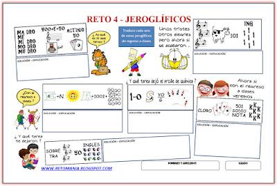 Jeroglíficos, Jeroglíficos escolares, Jeroglíficos con solución, De regreso a clases, De vuelta al colegio, Retos Matemáticos, Desafíos Matemáticos, Problemas Matemáticos, Problemas Lógicos