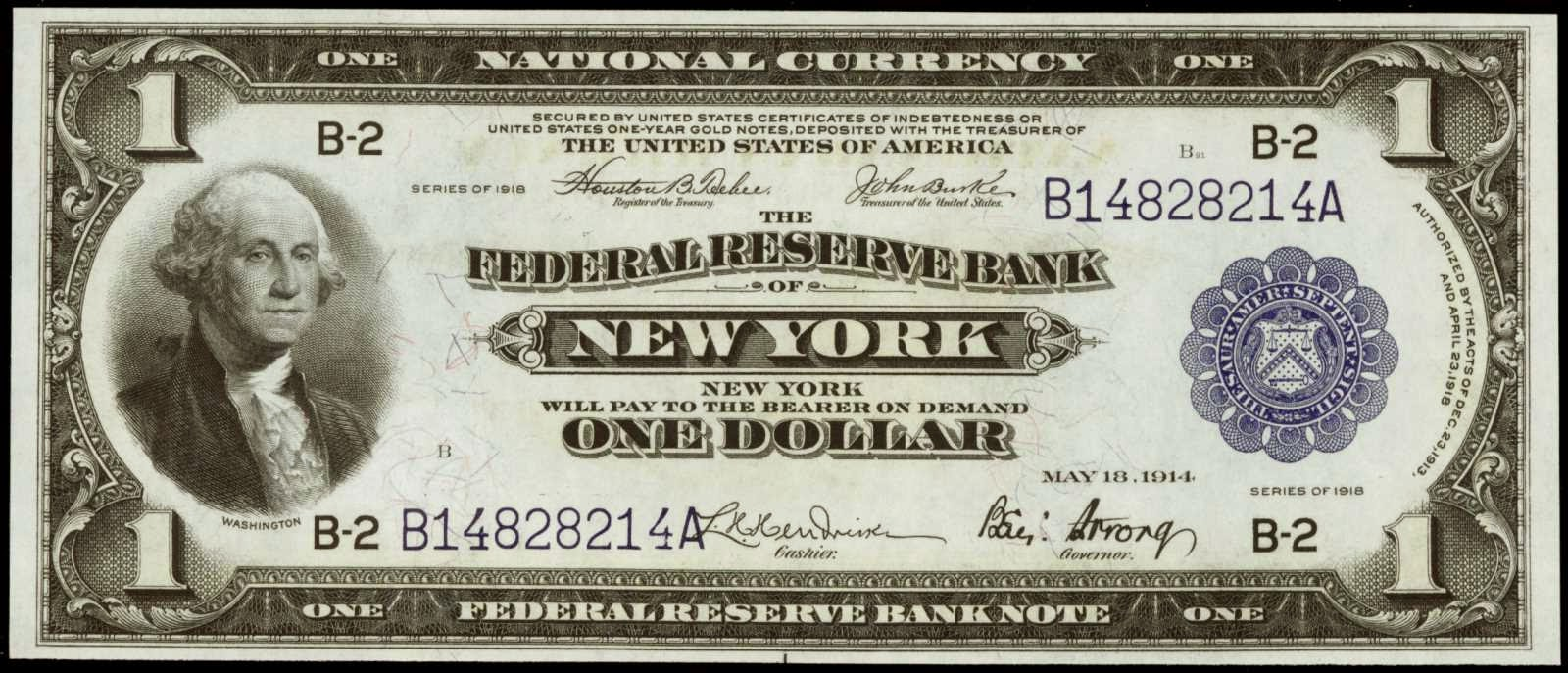 One Dollar Federal Reserve Bank Note 1918
