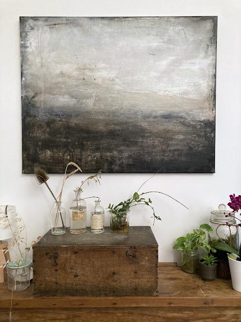 """Tableau """"Abstract Area"""" - paysage sur toile. Estelle Séré 2021"""