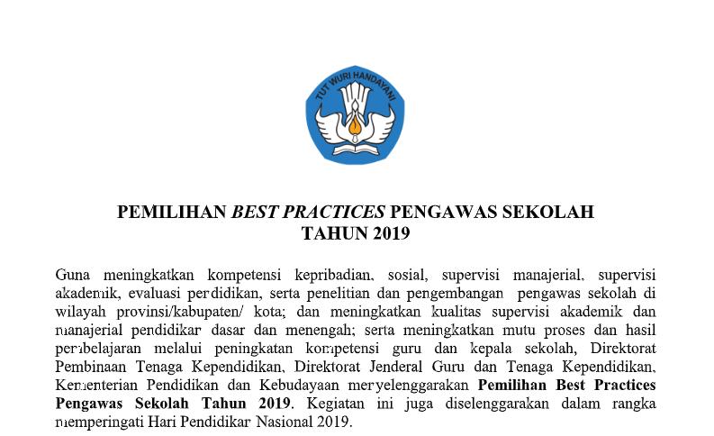 Pemilihan Best Practice Pengawas Sekolah Tahun 2019 Guru Berbagi