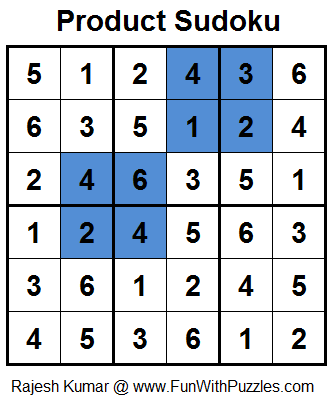 Product Sudoku (Mini Sudoku Series #21) Solution