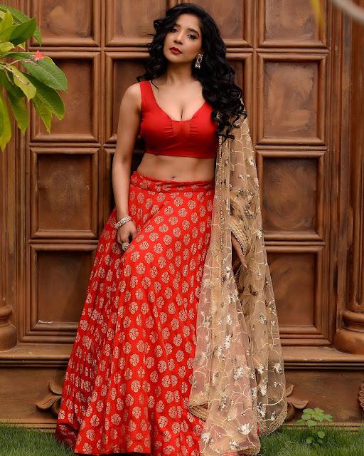 Sakshi Agarwal Deep Cleavage Hot Photos in Red Dress | Sakshi Agarwal Instagram Actress Trend