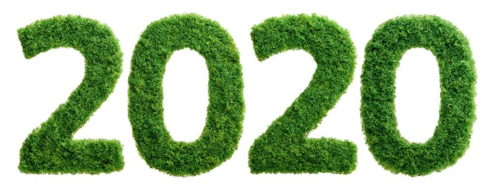 Happy, 2020 New Year, Green, Glass