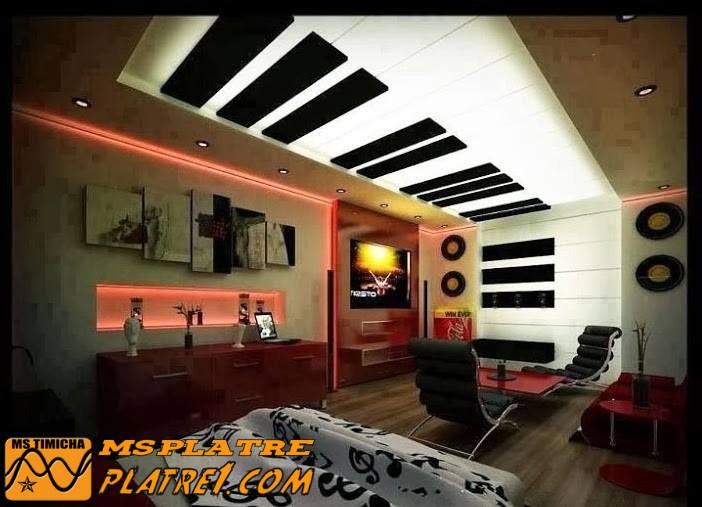 Faux plafond pour une chambre a coucher comme un piano | platre