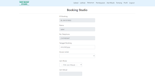 Prorgram Sistem Informasi Rental- Tampilan Booking