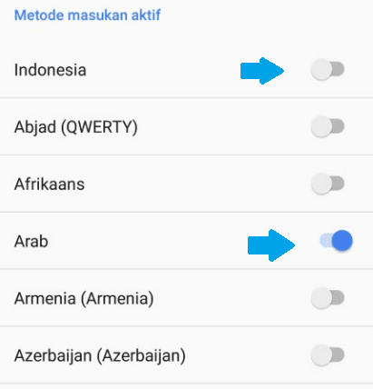 Aktifkan bahasa arab keyboard