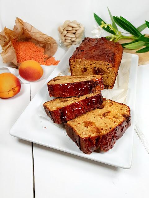 cake aux lentilles et abricots, sans gluten, protéiné
