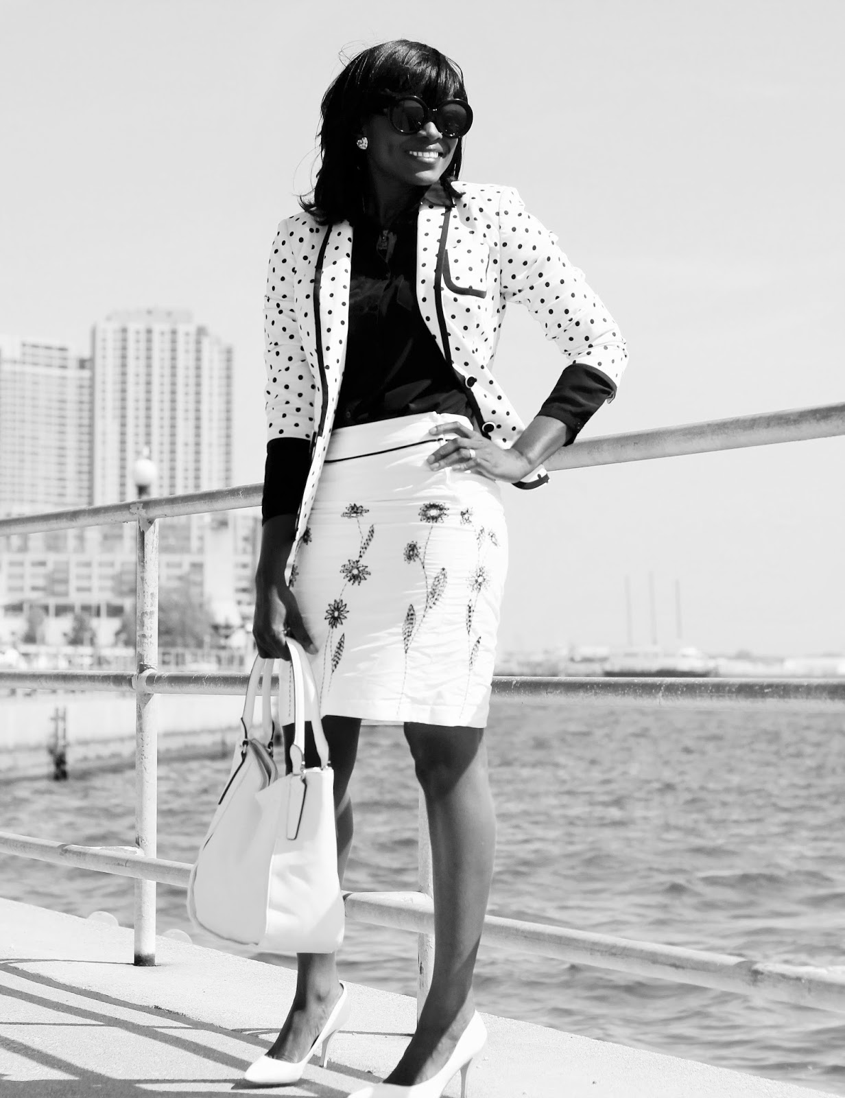 A workday look styled with a polka dot blazer by Express